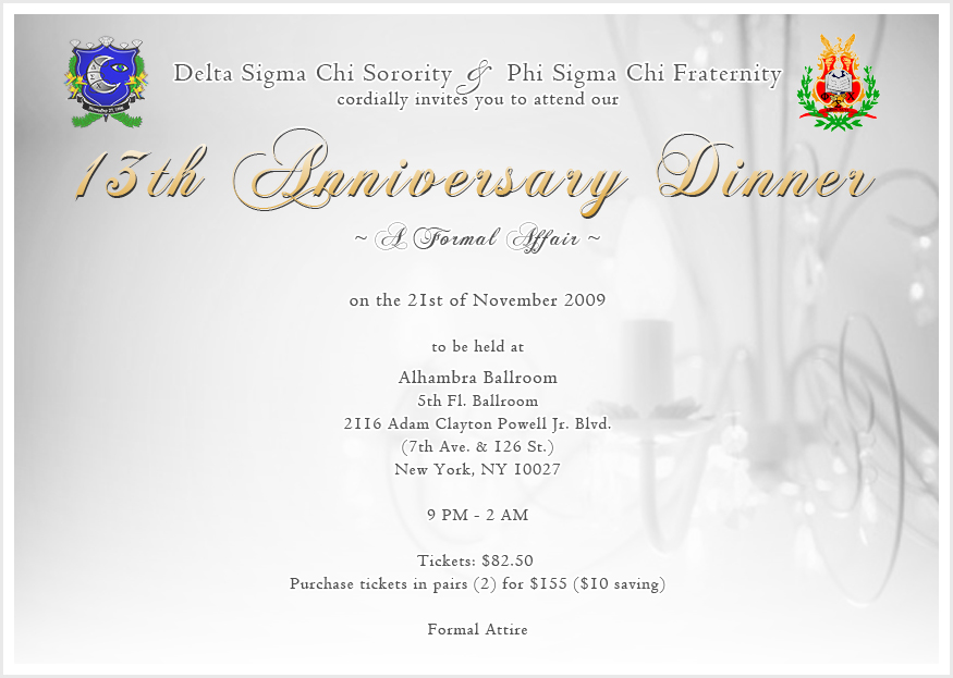 13th anniversary dinner delta sigma chi sorority inc 13th anniversary dinner 13thdinner invite stopboris Image collections